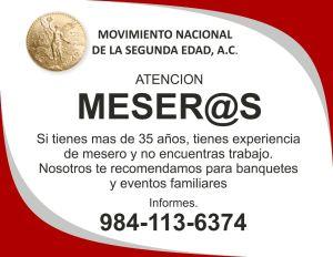 MESEROS SEGUNDA EDAD